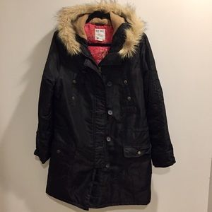 Old navy long thin puffer faux fur hooded jacket